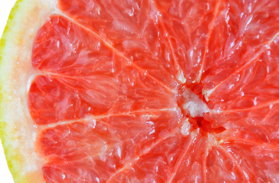 photo of a cut open grapefruit
